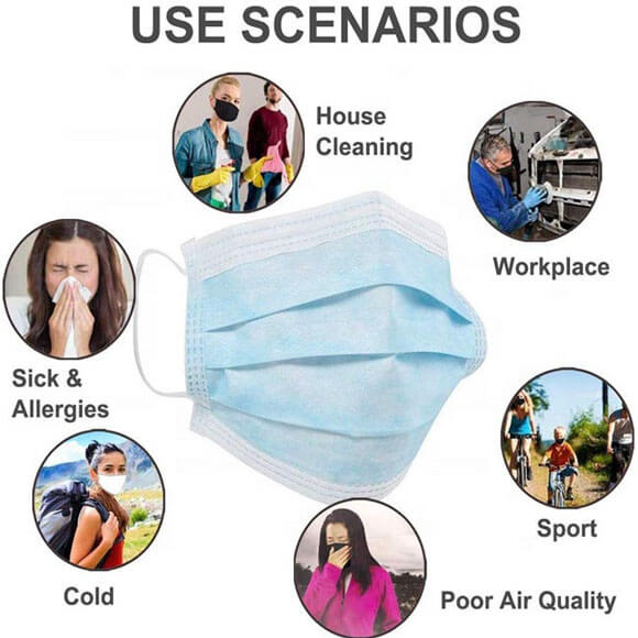 3 Ply Disposable Face Mask Carbon Filter Earloop Cover Anti Dust Respirator